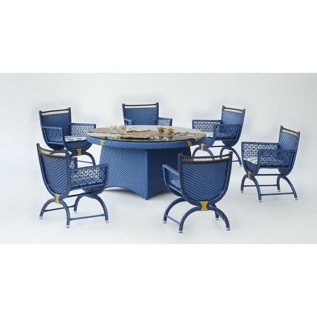 Hevea Jardin Ensemble table et chaises de jardin royal bleu - 6 places