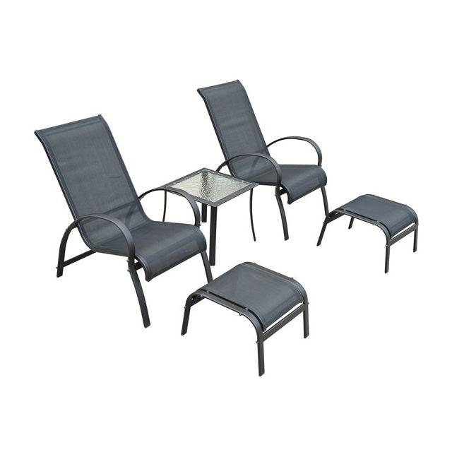 HOMCOM Salon de jardin textilene bain de soleil chaise longue x 2 + tabouret x 2 + table basse en alu noir 29