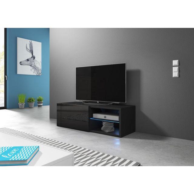 Vivaldi Hit 2 Single Meuble Tv Design noir mat avec noir brillant. Eclairage à la Led bleue