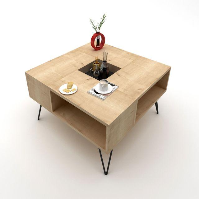 Homemania Table basse design Lord - L. 80 x H. 38,6 cm - Marron chêne