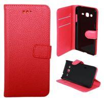 Lapinette - Etui Housse Portefeuille Pour Samsung Galaxy J5 2016 - Rouge