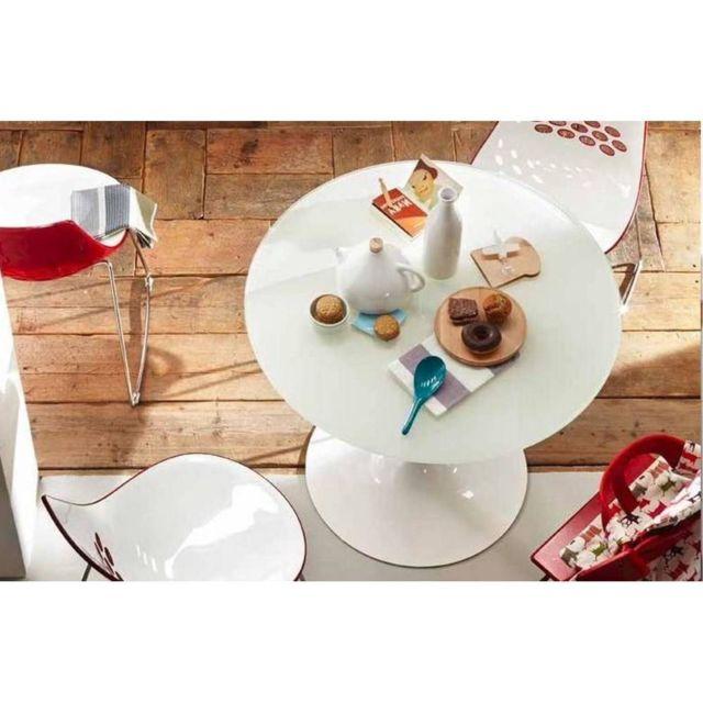 Inside 75 Table repas ronde Planet 120x120 en verre blanc piétement laqué blanc