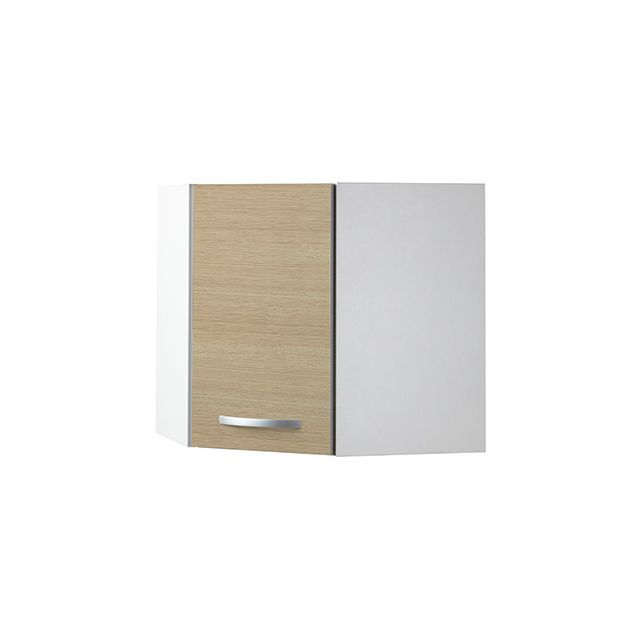 Meuble haut d'angle L60x60xH58xP36cm - décor chêne