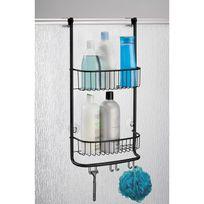 Interdesign - Serviteur de douche à accrocher en métal mat noir 2 étagères H.66.5cm Forma
