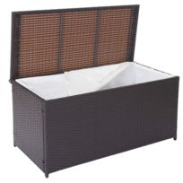 Decoshop26 - Coffre de rangement jardin 290 litres avec doublure polyrotin marron Mdj04110