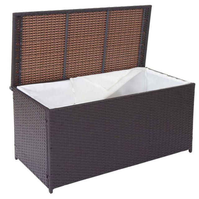 decoshop26 coffre de rangement jardin 290 litres avec doublure polyrotin marron mdj04110 pas. Black Bedroom Furniture Sets. Home Design Ideas