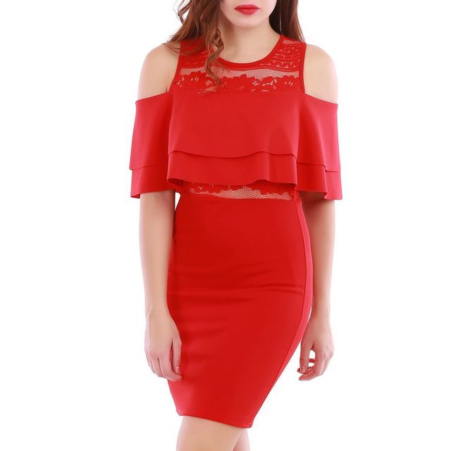 0cae497f2e851 Lamodeuse - Robe rouge avec volants - pas cher Achat   Vente Robes ...