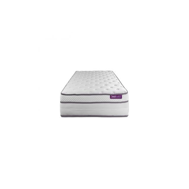 Septnuits Matelas 90x190 Memo Luxe Ressorts ensachés + mémoire de forme 5 zones de confort Maxi épaisseur