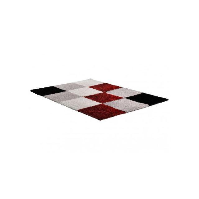 Vente unique tapis shaggy cubio 160 230 cm rouge noir blanc multicolore pas cher achat - Tapis shaggy noir et blanc ...