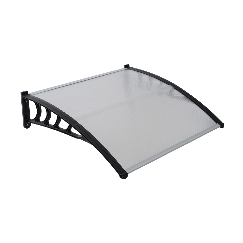 Auvent marquise de porte polycarbonate transparent design voûté arrondi 120 x 80 cm neuf 11BK