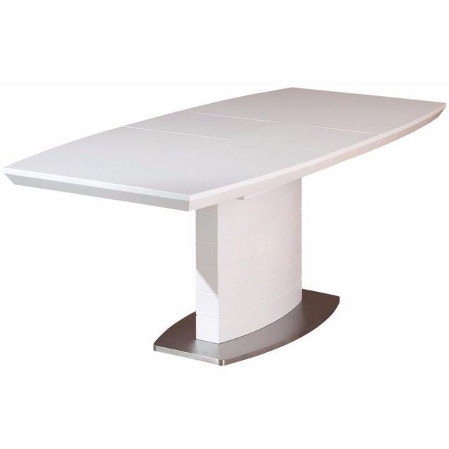 Comforium Table de salle à manger à rallonge coloris blanc