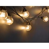 Leblanc Illumination - Guirlande extérieure guinguette 10 Led avec filament blanc chaud longueur 5m Tradition - Câble noir