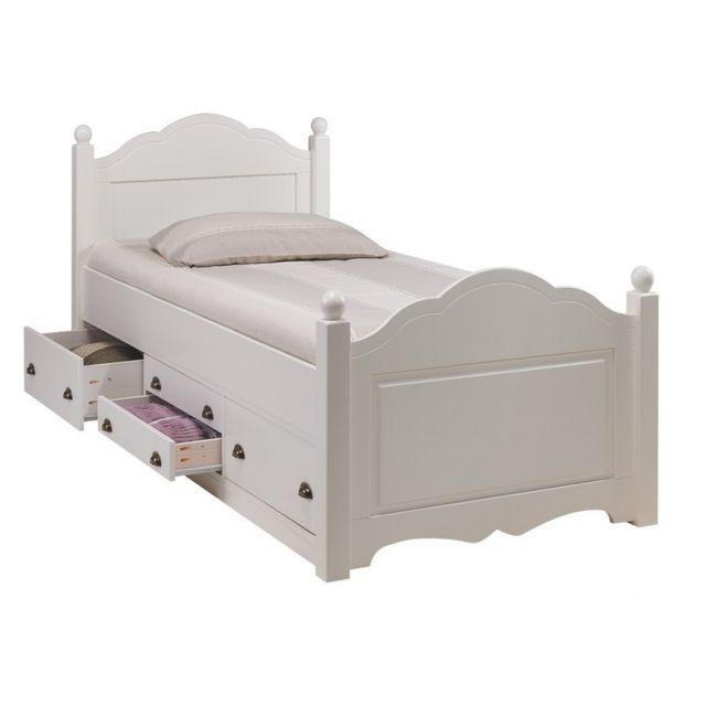 Beaux meubles pas chers lit enfant blanc 4 tiroirs 90 x 190 avec sommier pas cher achat - Avis beaux meubles pas cher com ...