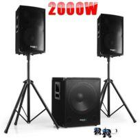 Ibiza Sound - Pack Sono Dj Cube 1512 + Disco 12 + Pieds + CÂBLES