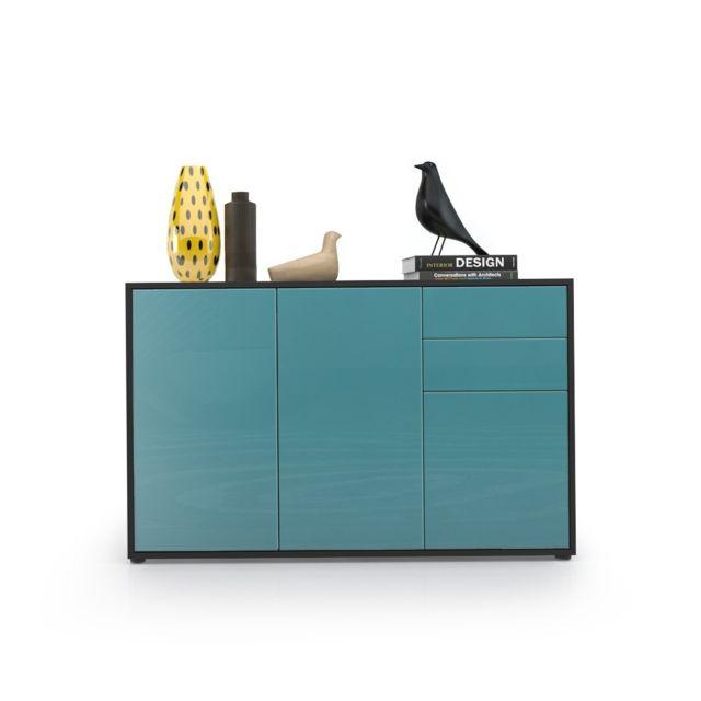 Mpc Commode moderne intégralement laquée corps noir façade turquoise