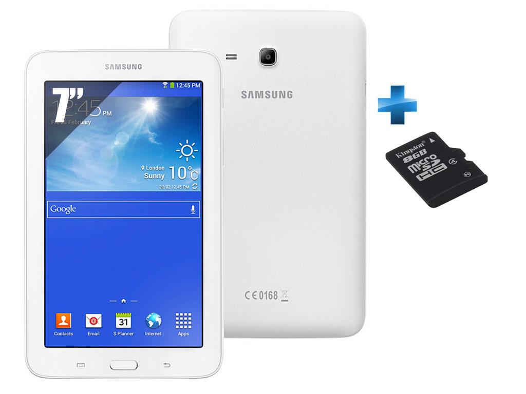 Galaxy Tab 3 Lite VE 7'' - 8 Go - Wifi - Blanc + Carte Mémoire Micro SDHC Kingston - 8 Go - Classe 4 - SDC4/8GB + Adaptateur SD fourni