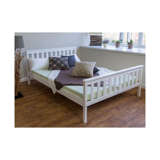 Homestyle4U Lit en bois double massif pin 140x200 blanc cadre de lit avec sommier futon lit