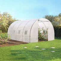 Idmarket - Serre de jardin tunnel 12 m² blanche translucide 3x4 m