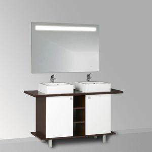 creazur meuble salle de bain st fia 100 136 double vasque blanc laque satin e pas cher. Black Bedroom Furniture Sets. Home Design Ideas
