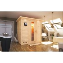 Karibu - Sauna bois 40mm d'intérieur Mojave 2/3 places avec poêle Bi-O 9kW commande externe