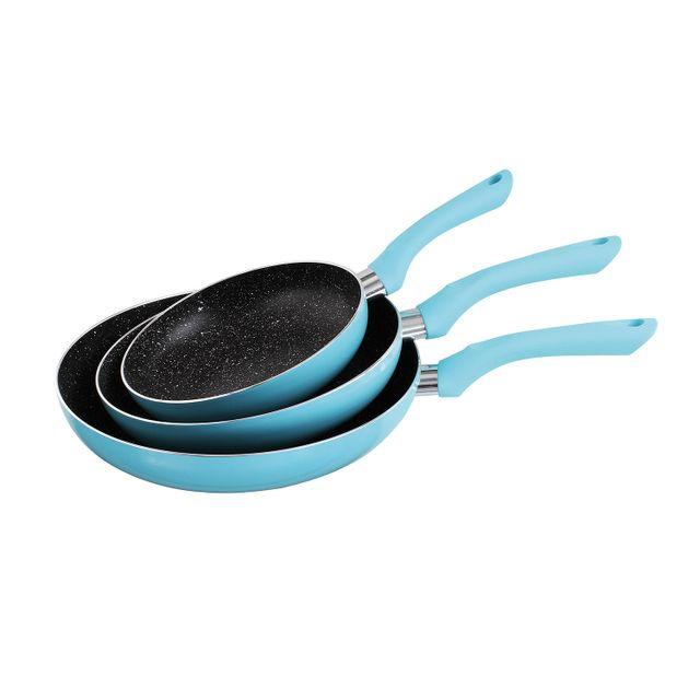 Kitchen Artist Set de 3 poêles bleu en aluminium 20/24/28cm, anti-adhésive compatible tous feux