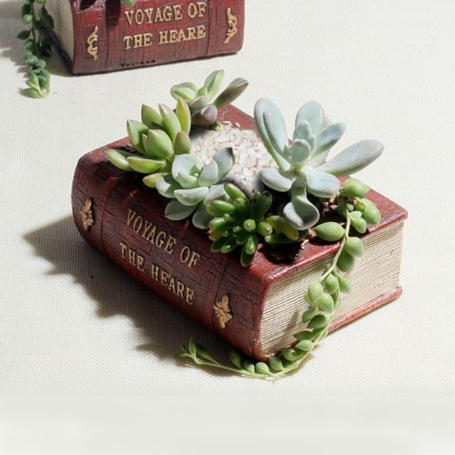 Wewoo - Pot de fleur pour Succulent Cactus Herbes Plante Lit Case Box FlowerPot, Taille: 14 10.5 5 cm Retro Literature Book Pots Multi-viande Plant Bonsaï Micro-paysage Vintage Livre Jardinière Noir
