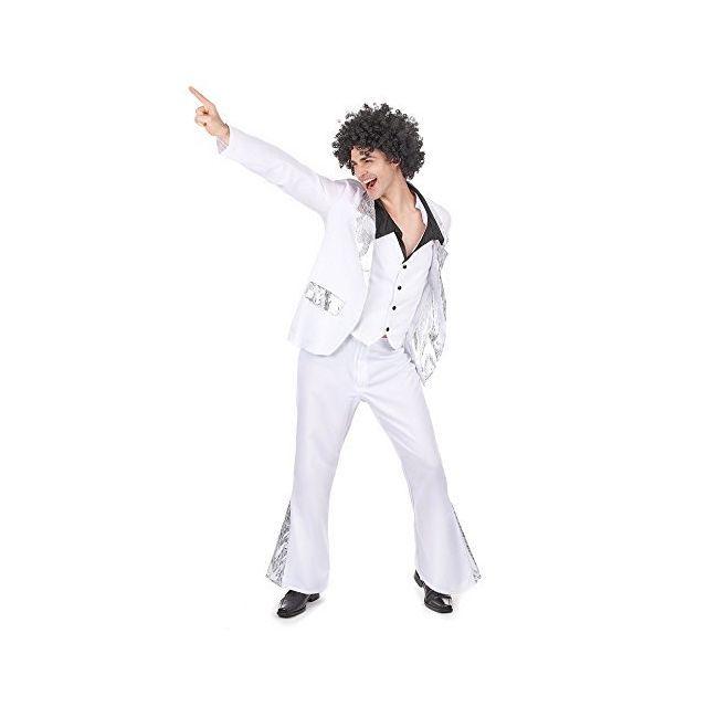 Disco L Déguisement Blanc 493 Et Carnaval Argent Taille Homme Costume cKTl1JF