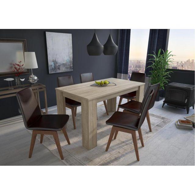 Comfort Table 140 cm rectangulaire. couleur chêne clair