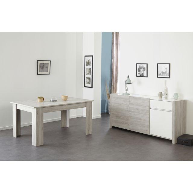 last meubles s jour complet gris table et enfilade louna pas cher achat vente s jours. Black Bedroom Furniture Sets. Home Design Ideas