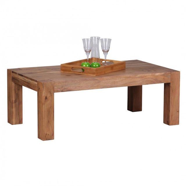 COMFORIUM Table basse 110x60 cm en bois massif coloris acacia