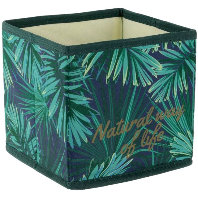 Cube Panier Boite De Rangement Pliable Déco Tropique Natural Way Of Life Vert