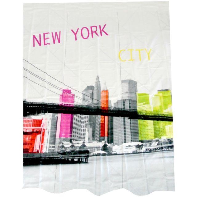 Promobo - Rideau De Douche En Polyester Déco New York City Building ...