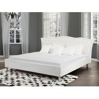 Beliani - Lit design en cuir - lit double 180x200 cm - Metz - sommier avec rangement inclus - blanc