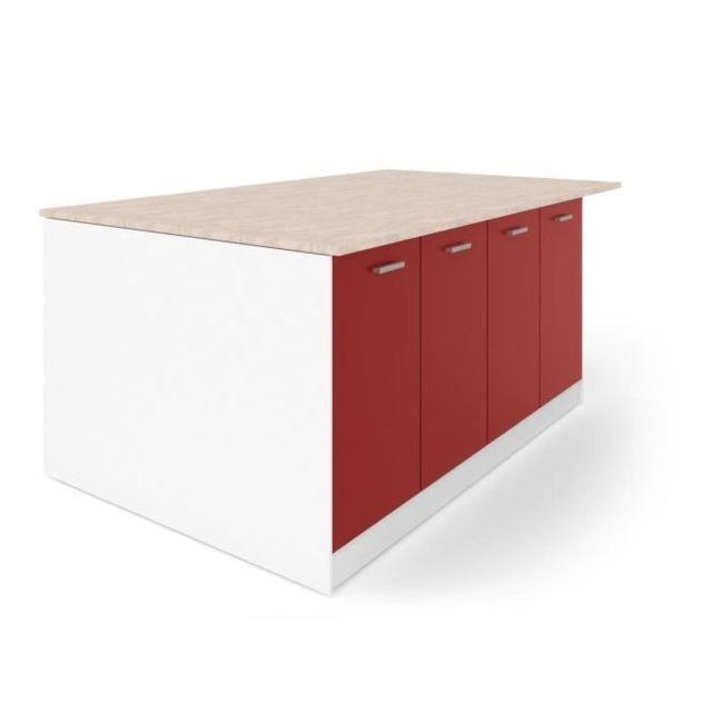 Ilot Central Ultra Ilot central L 200 cm avec plan de travail - Rouge Mat