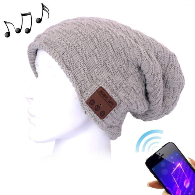 3a6281508bc9 Wewoo - Bonnet Connecté gris pour garçon et fille adultes texturé tricoté  casque Bluetooth chaud d
