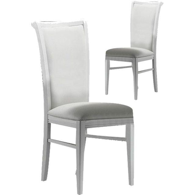 Comforium Lot de 2 chaises ultra design en bois massif et en simili cuir coloris blanc