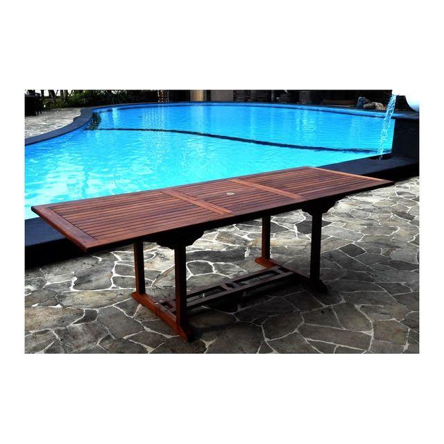 Rocambolesk Magnifique table rectangle en teck massif huilée 10/12p