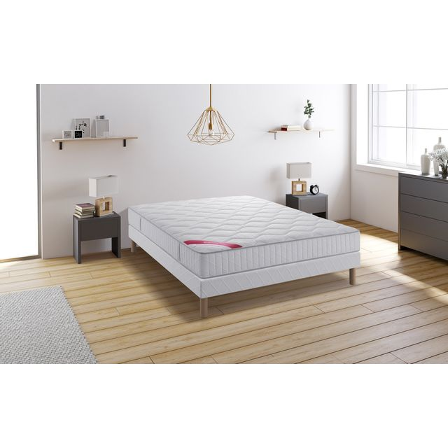 relaxima tropical ensemble sommier matelas m moire de forme dunlopillo 140x190 blanc pas. Black Bedroom Furniture Sets. Home Design Ideas