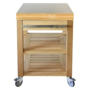 cristel table roulante billot dessus inox bross et fa ade bois 60 x 60 cm cm60ibcb cookmobil. Black Bedroom Furniture Sets. Home Design Ideas