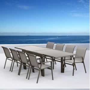 Sunrise - Salon de jardin aluminium Marbella Taupe - 8 places ...