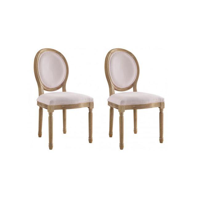20b40b6e202f09 MARQUE GENERIQUE - Lot de 2 chaises LOUIS XVI - Velours - Coloris rose pâle