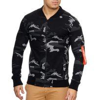 Violento - Veste fashion impression camouflage Veste homme 795 noir