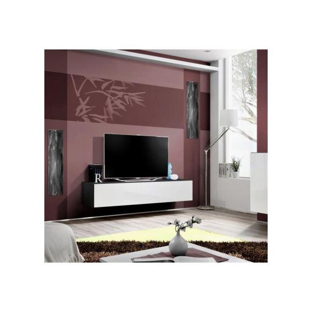 Price factory meuble tv fly design coloris noir et blanc brillant meuble suspendu moderne et for Meuble salon noir et blanc