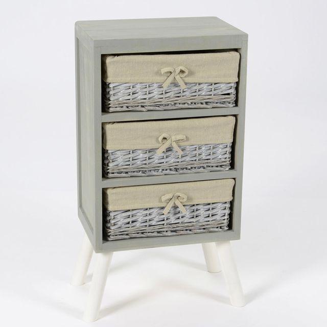 Amadeus Meuble de rangement en bois 3 casiers Longueur 37 cm Rotin