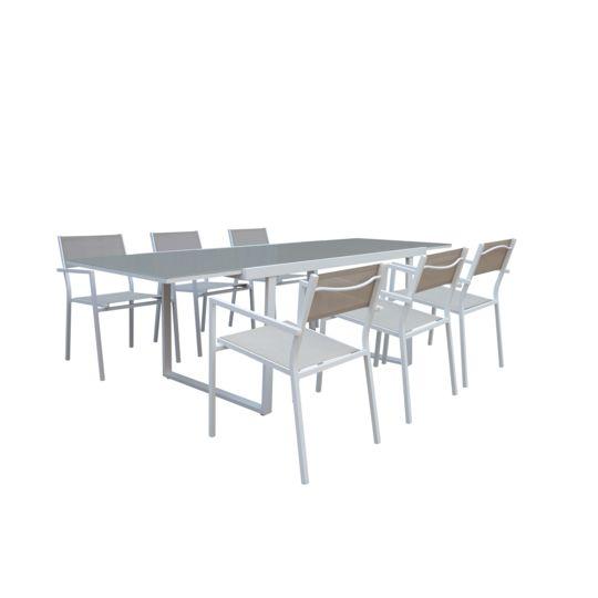 Salon de jardin Sofia - Table avec allonge et 6 fauteuils. à Prix Carrefour