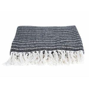 Present Time - Plaid 100% coton à franges motif rayures 150x180cm Ease - NoirNC