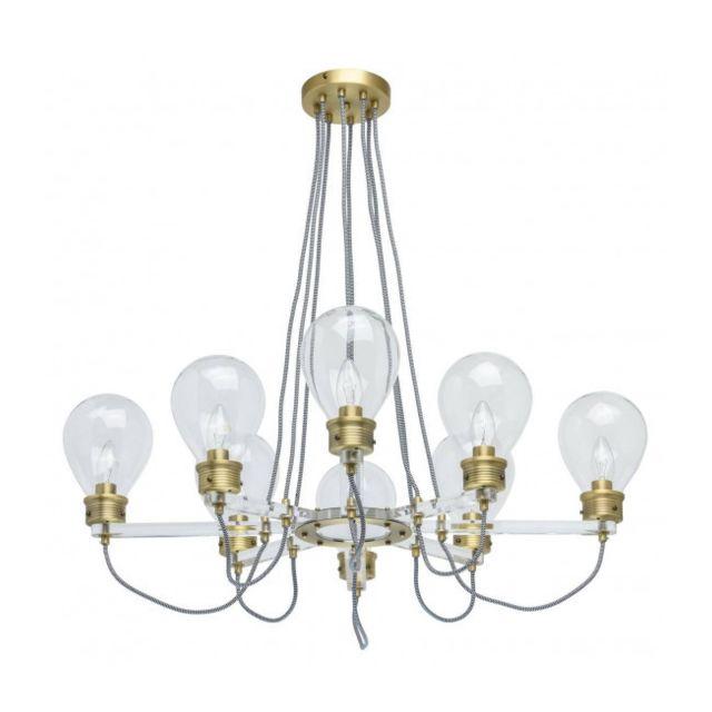Luminaire Center Suspension laiton Loft 8 ampoules 73 Cm