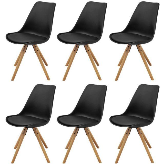 Sans Marque Chaise de salle à manger 6 pièces Cuir artificiel Noir