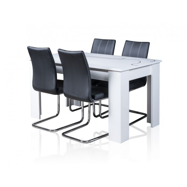 TOPDECO Table extensible Lino + 4 chaises sidney noires