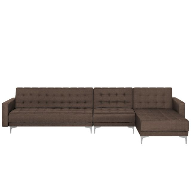 BELIANI Grand canapé angle à gauche en tissu marron foncé ABERDEEN